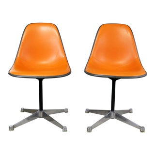 Eames for Herman Miller Orange Vinyl Upholstered Pivoting Side Shell Chair on Contract Base a Pair Psc For Sale