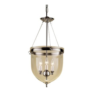 3 Candle Polished Nickel Lantern With Glass For Sale