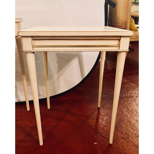 Mid 20th Century Set of Three White Painted Nesting / Stacking Tables Attributed to Jansen For Sale - Image 5 of 13