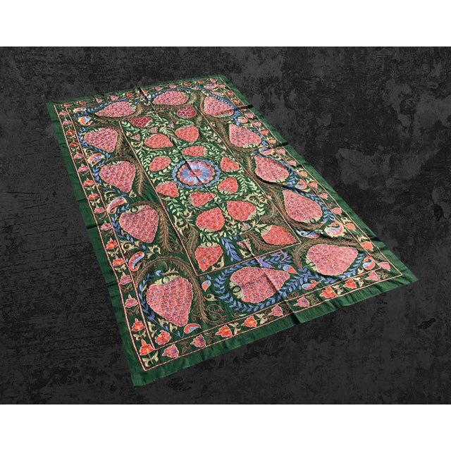 Handmade Suzani Green Bedspread, Suzani Bedding Strawberry Design Suzani Fabric Handmade Crochet Wall Hanging. Green Color...