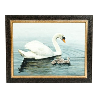 Mid-20th Century Wildlife Oil Painting on Canvas For Sale