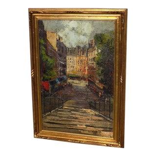"""Mid-Century Modernist """"Paris Market"""" Palette Knife Painting For Sale"""
