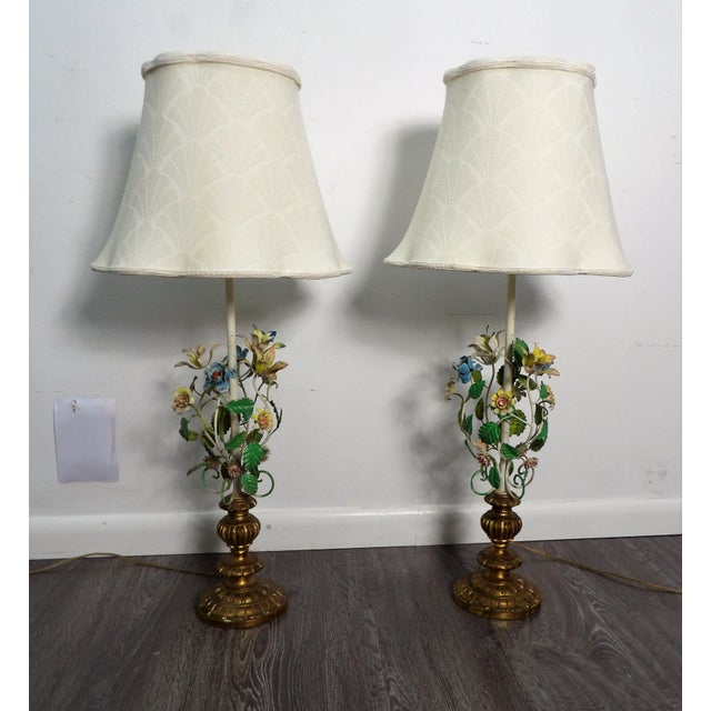 Late 20th Century Vintage Italian Tole Metal Lamps- a Pair For Sale - Image 9 of 9