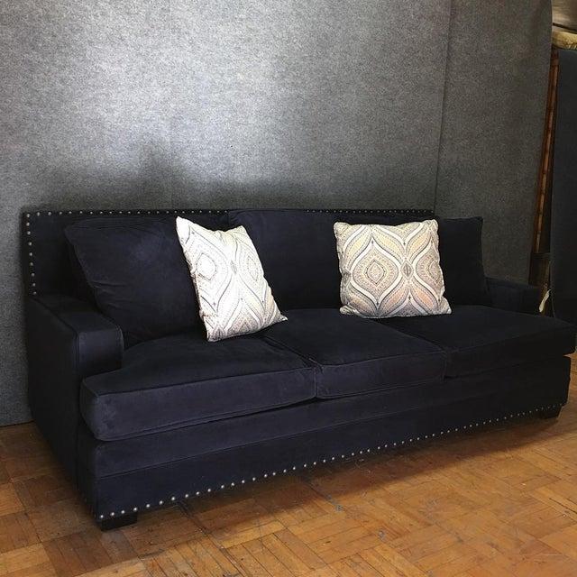 Living Spaces Blue Faux Velvet Oversized Isabelle Sofa - Image 6 of 10