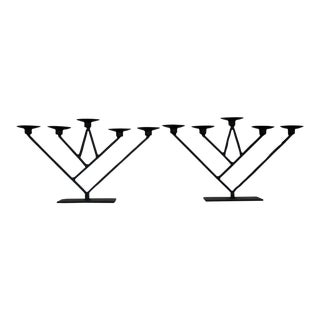 Modernist Geometric Oversized Iron Candle Holders, a Pair For Sale