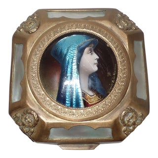 Emile Albert De Mandre Limoges French Enamel Portrait Jewelry Trinket Box