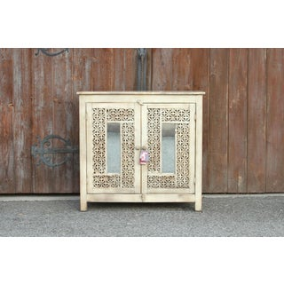 Carved Moroccan White Lattice Cabinet Preview