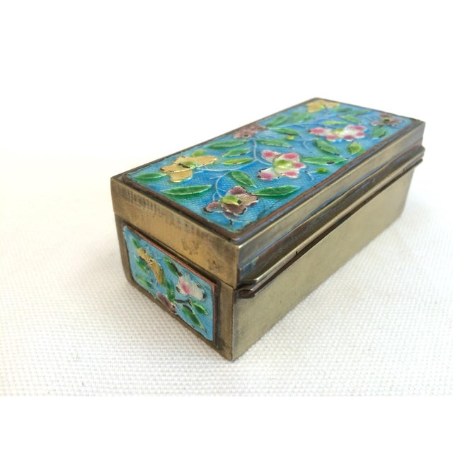 Vintage Chinese Enameled Brass Trinket Box - Image 3 of 7