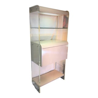 Mid-Century Modern Lighted Lucite Bar Cabinet
