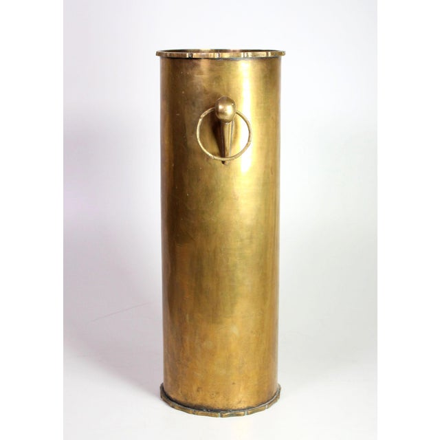 Vintage Solid Brass English Faux Bamboo Umbrella Cane Stand For Sale - Image 4 of 6