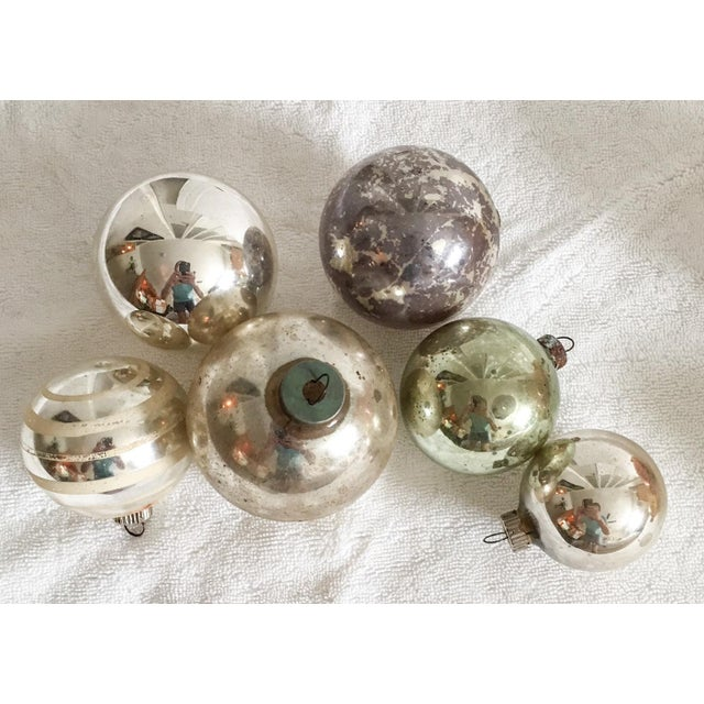 Traditional Vintage Mercury Glass Christmas Ornaments - Set of 6 For Sale - Image 3 of 5