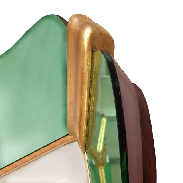 Wood 1950´s Large Mirror, Green Mirrors Frame and Golden Leaf Wood - Italy For Sale - Image 7 of 8