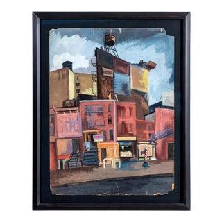 1940s WPA Style Urban Scene Oil Painting by Jean Artman, Framed For Sale