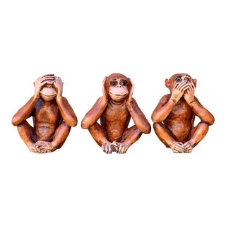 Vintage Mid Century Ceramic Monkeys - Set of 3 For Sale