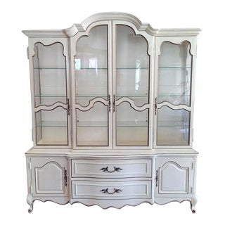 1950s French Provincial White China Cabinet Breakfront For Sale