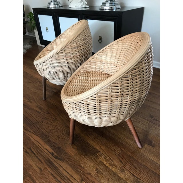 Rattan Barrel Tub Chairs Danish Modern Style With Wood Legs - Pair - Image 5 of 13