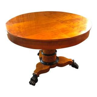 Antique Biedermeier Round Center Table For Sale