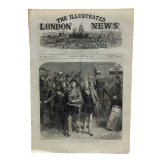 "Mid 19th C. Antique ""The War: The Departure of Prussians From Charing Cross Railway Station"" Print For Sale"