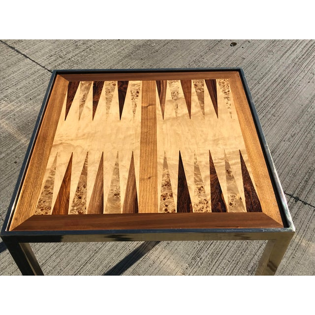 Hollywood Regency Hollywod Regency Brass and Burl Wood Backgammon Chess Game Table For Sale - Image 3 of 13