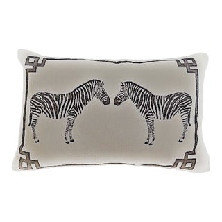 Two Zebras Printed Pillow For Sale
