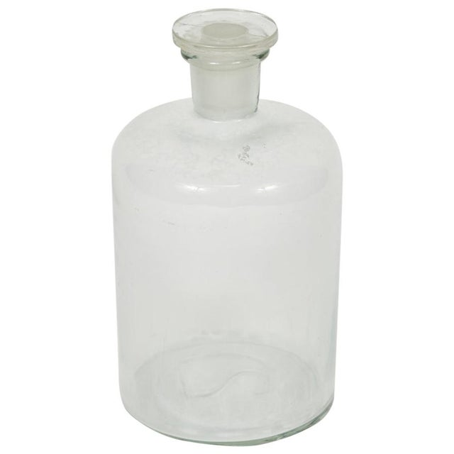 Transparent 1940s English Glass Bottle with Stopper For Sale - Image 8 of 8