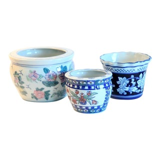 Hand Painted Floral Planters / Cachepots - Set of 3 For Sale