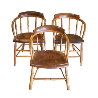 Late 19th Century Early American Primitive Barrel Back Oak Saloon Pub Caboose Chairs - Set of 3 For Sale