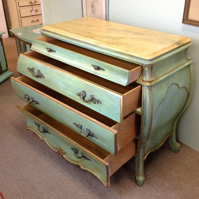 Large Light Green Painted Chest - Image 4 of 8
