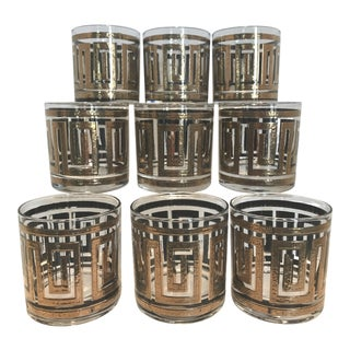 Mid-Century Gold Greek Key Glasses - Set of 9