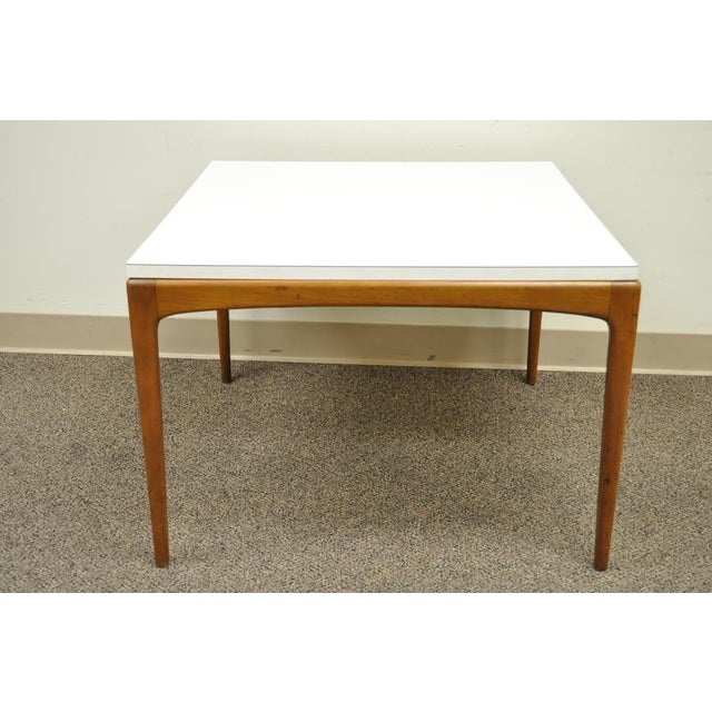 Wood Vintage Mid Century Modern Walnut & Laminate Square Coffee Table Danish Style For Sale - Image 7 of 11
