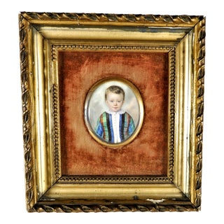 Antique Miniature Young Boy in Satin Clothes Painting, Framed For Sale