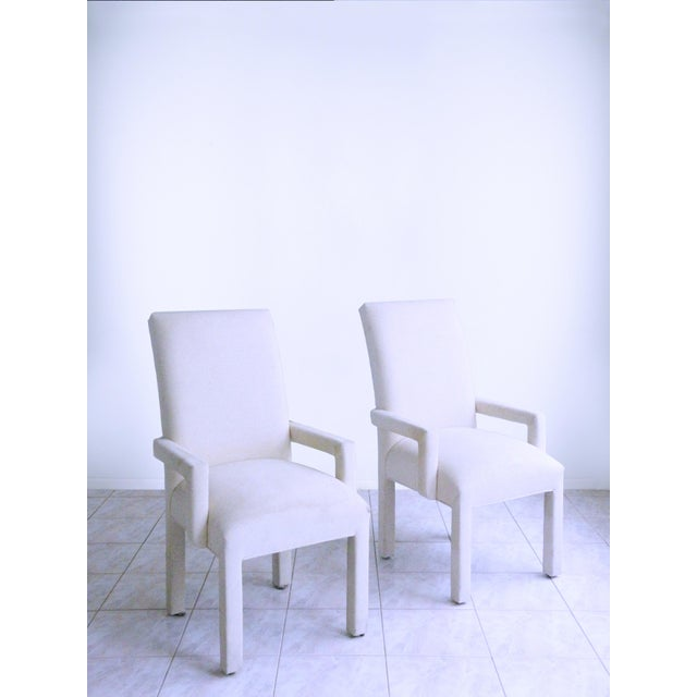 Textile Parsons Armchairs Post Modern Art Deco Inspired Upholstered Chairs - A Pair For Sale - Image 7 of 7