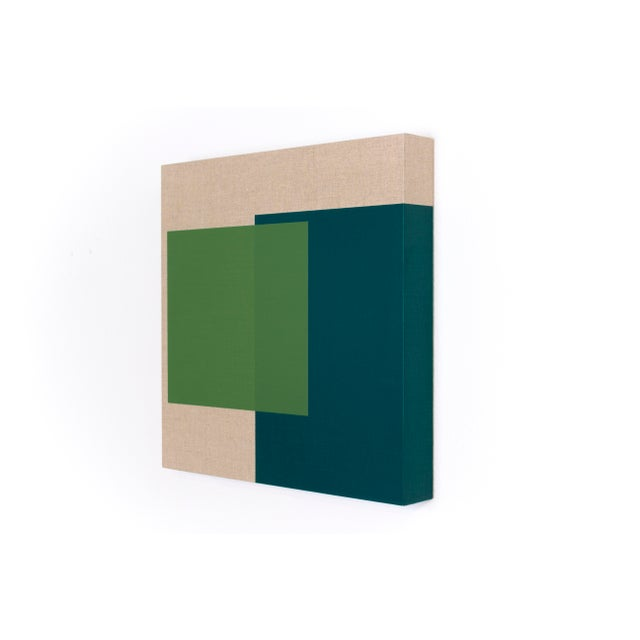 This contemporary abstract painting by American artist Brandon Woods features a layers of translucent green over deep...