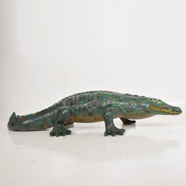 1970s Whimsical Sergio Bustamante Papier Mâché Crocodile Sculpture, Mexico, 1970s For Sale - Image 5 of 12