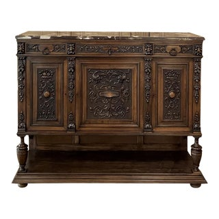 19th Century French Renaissance Walnut Marble Top Raised Buffet For Sale