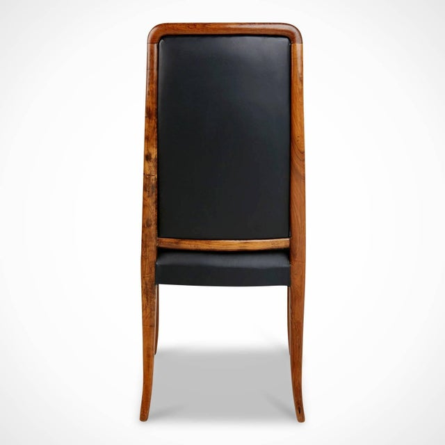 Exotic Jacaranda and Black Leather Dining Chairs, Set of Four, Brazil Circa 1970 For Sale In Los Angeles - Image 6 of 11