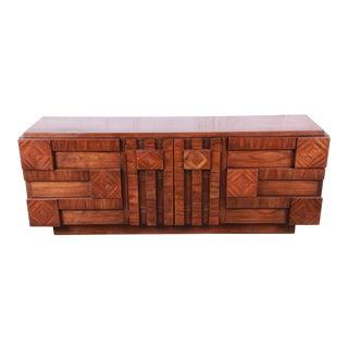 Paul Evans Style Mid-Century Modern Brutalist Walnut Long Dresser or Credenza by Lane For Sale
