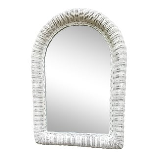 Vintage White Rounded Top Wicker Framed Mirror For Sale