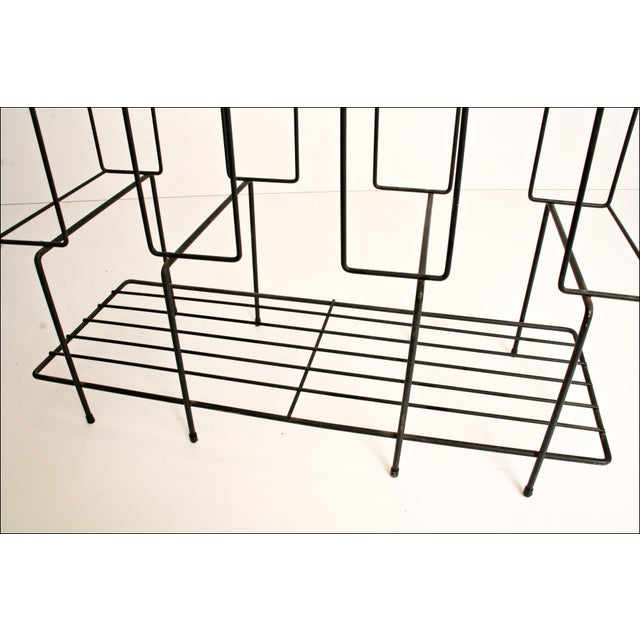 Mid-Century Modern Black Wire Record Rack For Sale - Image 7 of 11