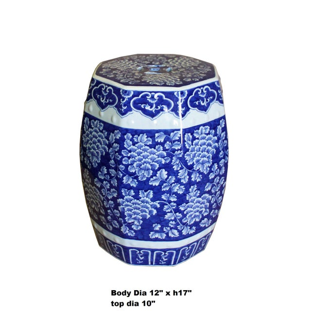 This is an oriental blue & white porcelain stool with a nice dark blue graphic of flower pattern around the body. It is...