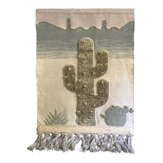 1970s Cactus Fiber Art Wall Hanging For Sale