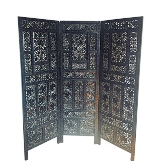 Aesthetic Movement Ebonized Tri-Panel Folding Screen For Sale