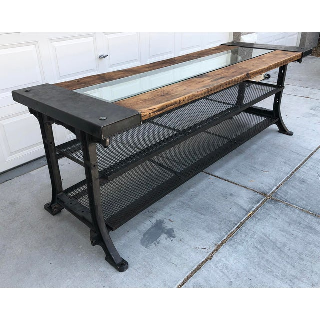 Boho Chic Custom Allsaints Spitalfields Industrial Modern Dining or Display Table For Sale - Image 3 of 8