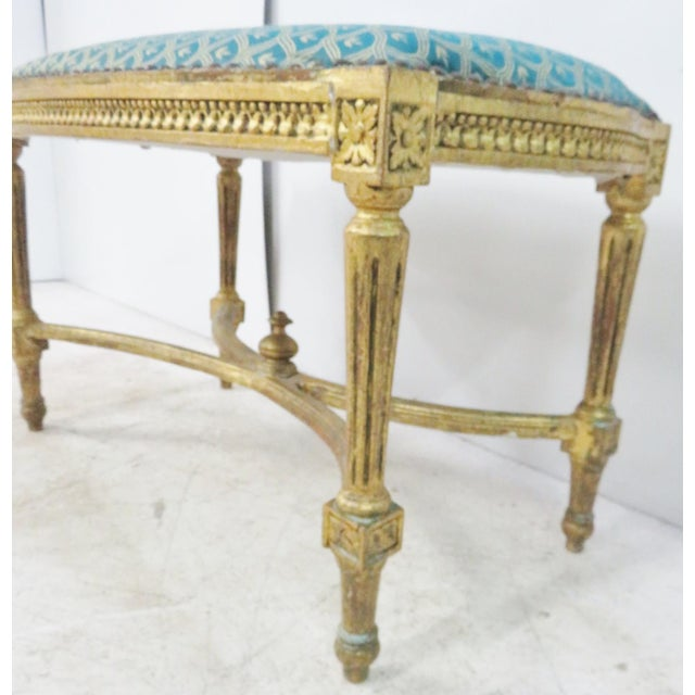 Louis XVI Blue & Gold Gilt Bench For Sale - Image 4 of 7