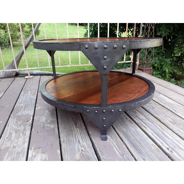 Farmhouse Industrial Farmhouse Round 2 Tier Reclaimed Chestnut Wood & Steel Coffee Table For Sale - Image 3 of 13