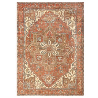 Room Sized Antique Persian Serapi Carpet - 9′11″ × 9′11″ For Sale