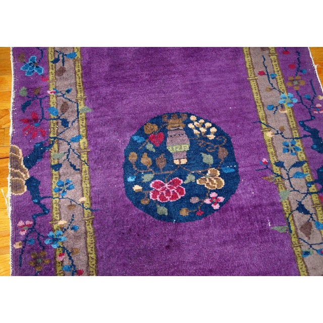 1920s 1920s, Hand Made Antique Art Deco Chinese Rug 2.10' X 4.9' For Sale - Image 5 of 13