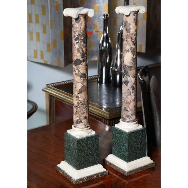 Mid 19th Century Pair of Grand Tour Columns in Porphyry, Breche and Alabaster For Sale - Image 5 of 9