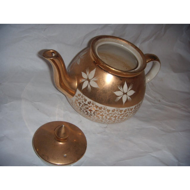 White & Gold China Teapot For Sale - Image 4 of 8