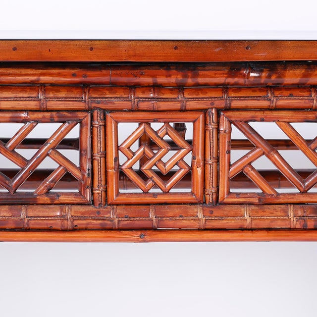 Wood Bamboo Console Table For Sale - Image 7 of 10